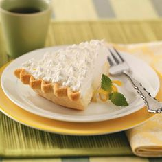 Sour Cream-Lemon Pie Recipe One of the best pies I've eaten. I also added some lemon zest to the whip cream. Lemon Desserts, Lemon Recipes, Pie Recipes, Just Desserts, Sweet Recipes, Delicious Desserts, Yummy Food, Dessert Dips, Pie Dessert