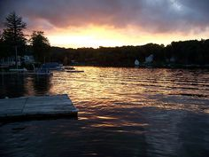 Sunset on Highland Lake. Winsted CT I see this every day. Beautiful