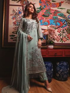 Breathtaking sea green embroidery straight cut suit online which is crafted from chiffon fabric with exclusive embroidery. This stunning designer straight cut suit comes with raw silk bottom and chiffon dupatta. Latest Punjabi Suits, Women's A Line Dresses, Embroidery Designs Online, Salwar Suits Online, Lace Design, Straight Cut, Chiffon Fabric, Silk, Horoscopes