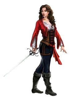 Female Swashbuckler - Pathfinder PFRPG DND D&D d20 fantasy