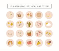 20 Ready to use highlight cover images. Instagram Logo, Instagram Story, Printable Stickers, Cute Stickers, Free Banner Templates, Iphone App Layout, Image Icon, Iphone Icon, Journal Stickers