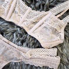 Love Haus Lingerie by Beach Bunny Swimwear: 'Impulse' nude lace bralette & thong | Soft nude lace bralette with boning creates just enough support. Double lace straps with adjustable hook closure.