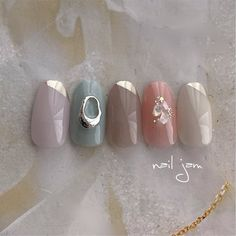 Japanese Work Appropriate Nails Autumn Winter Light Pastel Stud in 2020 Autumn Nails, Winter Nails, Work Appropriate Nails, Cute Nails, My Nails, King Nails, Top Nail, Professional Nails, Nail Decorations
