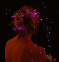 Fiber optic lights in an updo