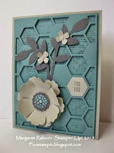 Funstampin' with Margaret!  Dictionary, Blossom Punch, Hexagon Hive Thinlit, Honeycomb Hello.  CCMC340 color challenge