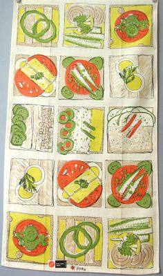 Vintage Vera Neumann Linen Towel With Tag - Many Sandwiches.