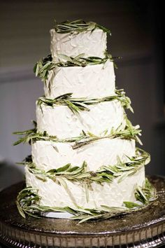 Italian Wedding Cake. Wedding Cake. White and Green Cake. Olive leaves. Maybe consider this for Ryan's Italian side?