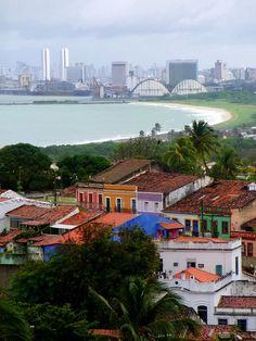 Olinda em primeiro plano e Recife ao fundo- Pernambuco - Brasil