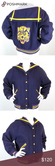 "Vintage Cheerleader /  Letterman Jacket, Purple Gorgeous, vintage 1970's - 1980's women's cheerleader / letter / letterman jacket / coat.  Purple wool exterior with yellow trim.  Black satin quilted lining.  Wildcat or tiger patch on back.  Sailor collar.  Marked a Ladies' size X Large., BUT shown on my 34"" bust mannequin.  Jacket measures:  Bust, 50"";  Sleeves 24"".  Pilling on ribbing.  Otherwise in excellent condition.  Trophy Jackets label. Vintage Trophy Jackets Jackets & Coats Utility…"