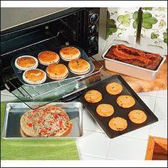 Toaster Oven Pans:  Baking Pan $6, Loaf Pan $7, Muffin Pan $7, Non-Stick Cookie Sheet $9