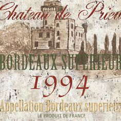 "Wine Labels Art - Bordeaux Blanc 1994 ___""Bordeaux Blanc Label 2""  by Debbie DeWitt #cCreams #cBrowns"