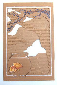 Cardboard painting in cardboard art with Painting Cardboard Art Cardboard Painting, Cardboard Sculpture, Cardboard Crafts, Cardboard Boxes, Cardboard Recycling, Sculpture Art, High School Art, Middle School Art, Cardboard Relief