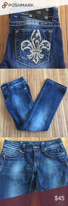 """Miss Me Boot Cut Jeans Style JP5110B3.  Never used.  Measures about 16"""" across the waistband, 8"""" front rise and 29 1/2"""" inseam.  It has a leather fleur de lis design on the back pockets, rhinestone embellishments and there is manufacturer distressing.  No trades. Miss Me Jeans Boot Cut"""