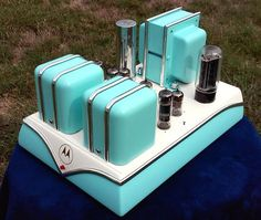 This is a Motorola model HS-696C Stereo Push-Pull Tube Amplifier which has been highly customized and modified for standalone use. It is ready to plug & play. It was originally pulled out of a Motorola stereo console.