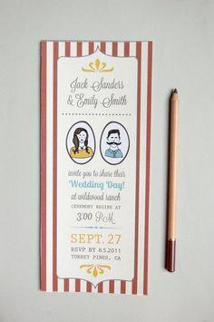 Rustic Wedding Invitation - Vintage Carnival Theme With Custom Portraits. $2.50, via Etsy.
