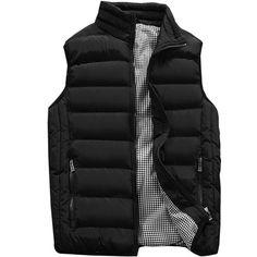 New Vcansion Men's Outdoor Casual Stand Collar Padded Vest Coats online shopping - Toplikestylish Waistcoat Men Casual, Vest Men, Jacket Men, Mens Sleeveless Jacket, Hooded Winter Coat, Cotton Vest, Winter Fashion Casual, Mens Tops, Coats