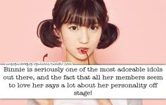 Binnie is seriously one of the most adorable idols out there, and the fact that all her members seem to love her says a lot about her personality off stage! #unpopularkpop#korean#KPOP#Binnie#Oh My Girl