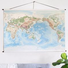 Our large-sized World Wall Map chart is a highly detailed and beautiful contemporary map of the world ready to add instant style to your room.  Designed in Australia by a qualified cartographer. The map is Pacific-centred and is available in two sizes, medium and large. It combines a blend of earthy tones and shaded relief with up-to-date and highly detailed political information, making the map perfect for interior decorating, business or general reference use. Perfect as a gift for a new…