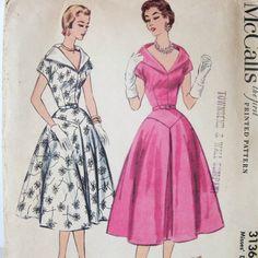50s dress | 50s Vintage Dress Pattern McCalls 3136 Stand Away Collar Full Skirt ...