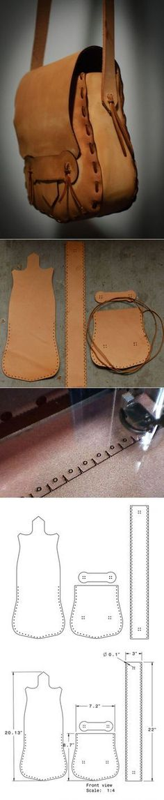 How to sew a bag from genuine leather Leather Art, Sewing Leather, Leather Pattern, Leather Pouch, Leather Design, Leather Tooling, Leather Purses, Leather Handbags, Crea Cuir