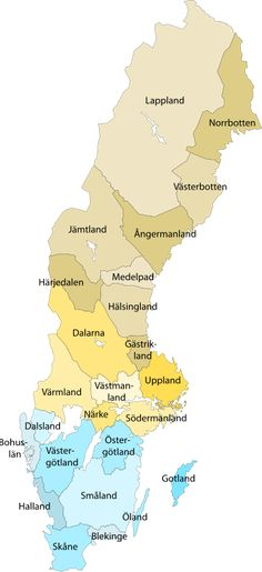 Provinces of Sweden - I live in Skåne, the very southernmost tip.