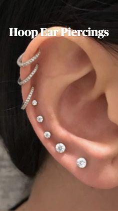 Unique Ear Piercings, Different Ear Piercings, Cute Piercings, Ear Piercings Cartilage, Multiple Ear Piercings, Body Piercings, Cartilage Earrings, Piercing Tattoo, Upper Ear Piercing