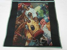 Race Horse Racing Jockey Tapestry Fabric Unfinished Pillow Top 2 Panel Squares | eBay