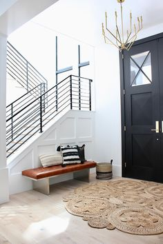 Modern Organic Front Entry Foyer - The House of Silver Lining Entry foyer Modern Organic Front Entry Foyer - The House of Silver Lining Entry Foyer, Front Entry, Entry Bench, Entry Tables, Minimalist Home Interior, Home Interior Design, Modern Foyer, Modern Staircase, Small Foyers