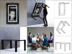 Table folds down from picture frame on wall to free standing moveable table - Ivydesign » Picture Table in the middle of your room