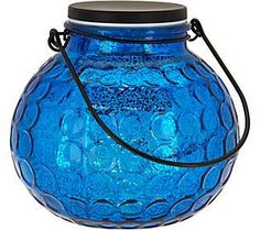 Illuminated Hammered Glass Round Lantern by Valerie