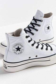 68ed4903a13099 Platform Converse leather White Wedge High Top Lux Club Kicks Converse  Haute