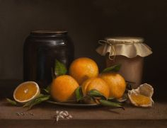Jonathan Koch, Oranges And Ceramic Jars, oil on linen, 14 x 18 inches, 2013