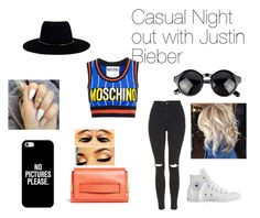 """Casual Night Out with Justin Bieber"" by adelaideowusu123 on Polyvore featuring Moschino, Topshop, Chloé, Converse, Zimmermann and Casetify"