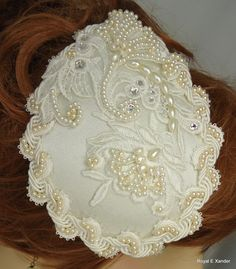 Wedding Mini Hat Bridal Mini Hat Ivory Teardrop by RoyalEXander