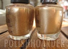 OPI Dazzled by Gold vs. I Get a Kick Out of Gold :: IGAKOOG is smoother... (other golds: Glow, Curry Up Don't Be Late)