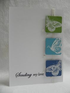 Lately, I have been favoring CAS style cards. I think creatively, my brain is telling me to stop adding so. Pretty Cards, Cute Cards, Dyi Crafts, Paper Crafts, Scrapbook Cards, Scrapbooking Ideas, Wedding Anniversary Cards, Butterfly Cards, Creative Cards