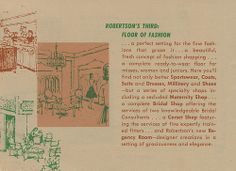 A circa pamphlet featuring the new layout of Robertson's Department Store in South Bend, Indiana South Bend Indiana, Sportswear, Flooring, Department Store, Third, Women, Fashion, Moda, Fashion Styles