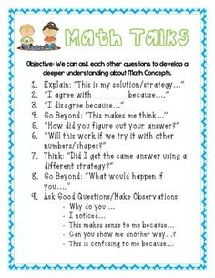 Math Talks Anchor Chart! Generate mathematical dialogue among your students with these helpful thought/sentence starters....Tpt