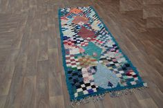 Boucharouite  Moroccan Green Diamond Rug by Beniouraincarpets, $399.00