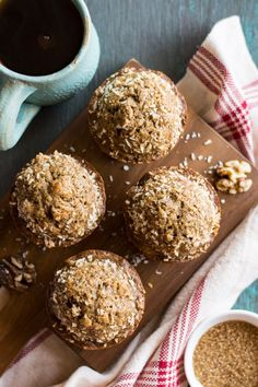 Whole Wheat Maple Banana Nut Muffins - healthy muffins made with NO refined sugar. Great recipe for breakfast! | healthynibblesandbits.com