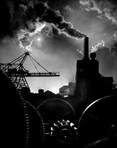 """Wheels of Industry"" — 1950. Bethlehem Steel at Sparrows Point.  Photography by A. Aubrey Bodine / Copyright Jennifer Bodine"