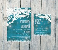 Digital - Printable Files - Blue Night with Fireflies Wedding Invitation and Reply Card Set - Wedding Stationery - ID328