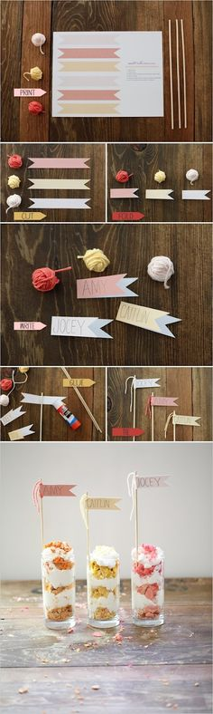 Cute place card flags printable DIY