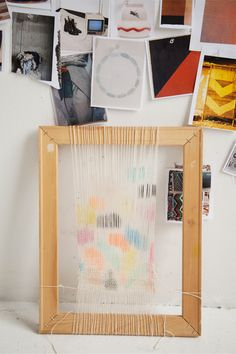 Using a handmade frame loom and wooden comb, these designers of New Friends design studio, craft weavings, textiles! Great idea to make your own frame loom and experiment with yarn, fabrics etc!