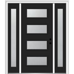 MMI Door 64 in. x 80 in. Celeste Left-Hand Inswing Clear Low-E Painted Steel Prehung Front Door with Sidelites, Black Modern Entrance Door, Modern Exterior Doors, Modern Front Door, Entrance Doors, Front Entry, Front Porch, Exterior Doors With Glass, Contemporary Front Doors, Exterior Homes