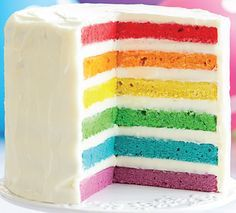 The rainbow cake, a visual and gustatory delight for dessert! Rainbow Layer Cakes, Cake Recipes, Dessert Recipes, Colorful Desserts, Unicorn Foods, Number Cakes, Salty Cake, Rainbow Birthday, Baby Birthday