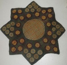 Penny Rug Primitive Star Penny  Hand dyed ...~♥~