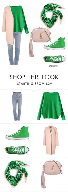 """green and blush"" by faraastyle ❤ liked on Polyvore featuring Vetements, Converse, McQ by Alexander McQueen, Echo, Yves Saint Laurent, colorchallenge and greenandblush"
