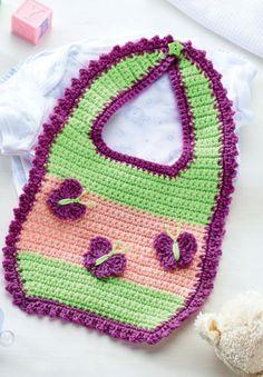 Crochet butterfly baby bib/ nice colour combo - nice & colourful!/ FREE CROCHET pattern