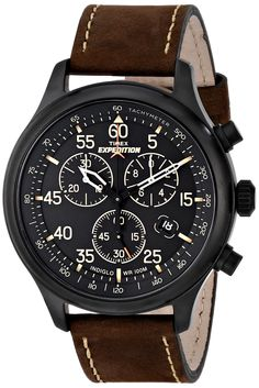 """Timex Men's T49905 """"Expedition"""" Rugged Field Watch with Brown Leather Band - $60"""